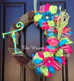 Monogram Summer Wreath  Summer Wreath  by CreationsbySaraJane, $55.00