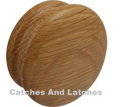 Wooden Knob Handle for Cabinets 70mm Diameter Clear Laquered Oak