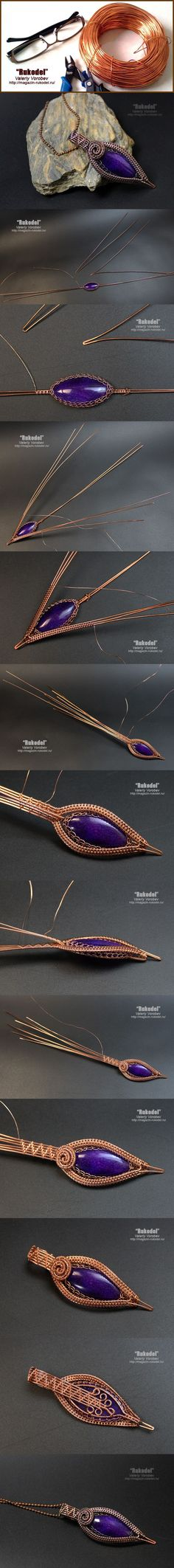 Pendant made of wire with natural stone. | | Handicrafts