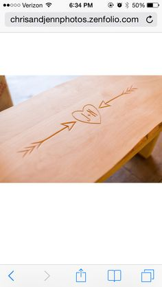 Bench that guests signed instead of a guest book. Had our initials carved in it.