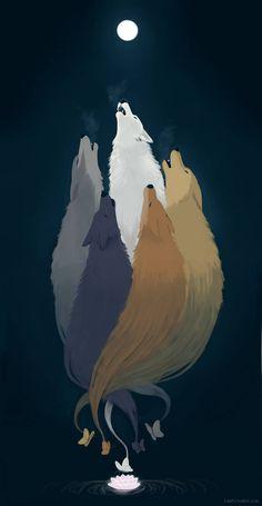 Wolf spirit animal art werewolves Ideas for 2019 Anime Wolf, Art And Illustration, Animal Drawings, Art Drawings, Wolf Spirit, Mythical Creatures, Amazing Art, Fantasy Art, Cool Art