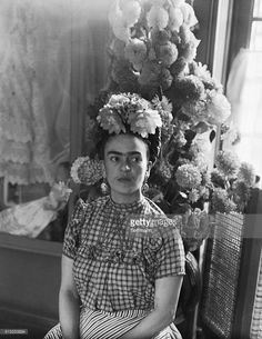 Frida Kahlo, Mexican painter, and wife of Diego Rivera is shown in this photograph.