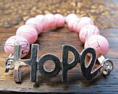 Inspirational HOPE Quote Breast Cancer Awareness Pink Abstract Bracelet by SparkleCatStudio.   During the month of October we will donate 25% of proceeds from PINK jewelry to breast cancer awareness.  All other items in the shop have 25% donated to animal rescues.  Find us on Facebook here: https://www.facebook.com/SparkleCatStudio