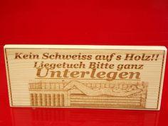 """Sauna Hinweisschild  Saunaschild lasergravur""""Kein schweiss auf s Holz"""""""