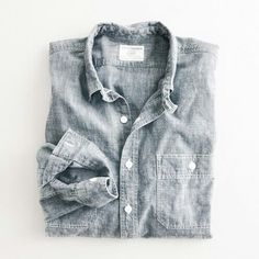 faded gray chambray button up