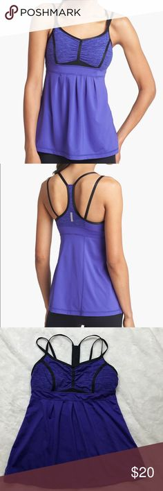 """Zella 'Mia' Strappy Workout Tank Purple-Sold Out! In very good used condition. Length is 22.5"""", Pit to pit is 14.5"""" . Thin bra padding Zella Tops Tank Tops"""