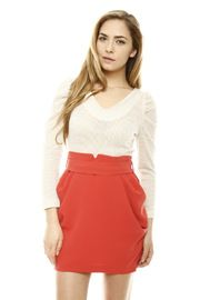 White Top with Red Bottom Dress
