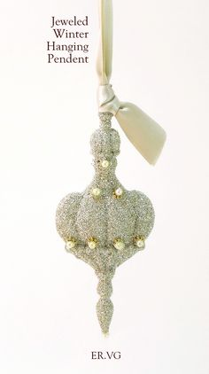 Jeweled Winter Hanging Pendent Hanging Christmas Ornament - Luxury Holiday by ER.VG ELIOT RAFFIT.VINTAGE GLAMOUR Vintage Silver Glass Glitter Hand-Made in the USA