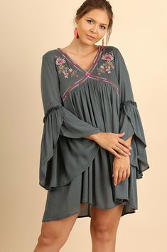 5e8e2cd39e1 Umgee Plus Size Slate Blue Embroidered Bohemian Tunic Dress Gypsy Bell  Sleeves