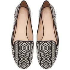Zara Ethnic Slipper (67 PEN) ❤ liked on Polyvore featuring shoes, loafers, flats, sapatos, black, black loafer flats, flat shoes, black loafers, zara flats and loafers & moccasins