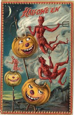 Vintage Postcard Halloween Raphael Tuck Sons Series 160 Pumpkins and Devils |