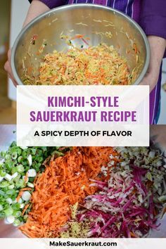 This Kimchi style sauerkraut recipe is fun to make with its many flavors. Korean red pepper powder - Gochugaru - adds heat with ginger and garlic in the background. Why I love this recipe? It connects me to cultures around the world where traditionally fermented foods are still a part of their everyday  lifestyle. Find tips and tricks on how to make this fermented vegetable  dish based on the popular spicy Korean cuisine. Available in printable PDF  version. #paleo #guthealth Kimchi Recipe, Sauerkraut Recipes, Pepper Powder, Fermented Foods, Red Peppers, Vegetable Dishes, Popular Recipes, Spicy, Cabbage