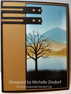 Sheltering Tree: SU!, Ink:  Memento Tuxedo Black, Basic Black, Baked Brown Sugar, Crumb Cake and Marina Mist, Michele zindorf