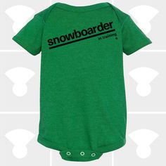 Snowboarder In-Training Baby Onesie, makes the perfect gift for a Baby Shower Gift, a Newborn Baby Gift, or your favorite little Baby Boy or Baby Girl! A Boutique-quality garment designed for maximum comfort and fit on infants of all sizes. Hand Printed on the Shores of Lake Superior in Duluth, Minnesota. $17.50 / Shop: https://www.etsy.com/listing/488107551  #baby #onesie #snowboard #funnyonesie