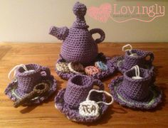 My completed Tea Set. Free pattern at: http://www.amidorablecrochet.com/2005/01/tea-time-play-set-pattern.html