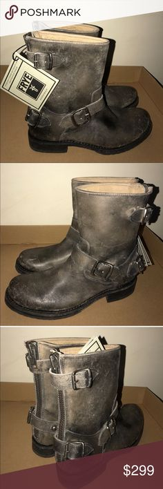 """Frye back zip buckle brown Moto boots New without box Frye sz 6.5 Veronica short back zip buckle boots distressed brown. No trades. Offers thru """"offer"""" button only. I do not negotiate prices in comments. Frye Shoes Combat & Moto Boots"""