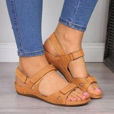 Large Size Women Fashion Flat Heel Strap Flats Sandals Lace-up Shoes - gifthershoes Block Sandals, Flat Sandals, Leather Sandals, Gladiator Sandals, Flat Shoes, Low Heel Sandals, Shoes Sandals, Trendy Sandals, Open Toe Sandals