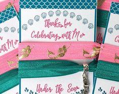 Party favors hair ties jewelry and accessories by SoSplashyDesigns Mermaid Toys, Mermaid Gifts, Bachelorette Party Favors, Birthday Party Favors, Mermaid Party Favors, Mermaid Jewelry, Under The Sea Party, Elastic Hair Ties, Mermaid Birthday