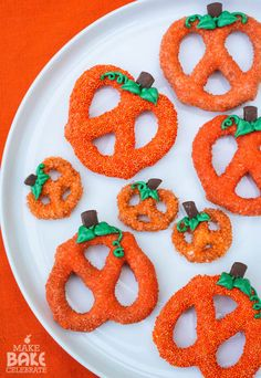 Chocolate-covered Pumpkin Pretzels ~ coated in orange sprinkles or sanding sugar | from Make Bake Celebrate