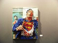 It's an awesome pixelated sculpture painting of our favorite superhero, Superman! It's amazing how the painting really Sculptures, Painting, Sculpture, Art, Wall Painting, Sculpture Painting, Artsy, Mosaic Patterns, Pencil Crafts