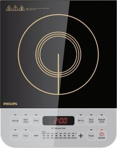 Philips HD4928 Induction Cooktop Philips induction cooktop is a stylish and efficient stove that runs on electricity and is faster than a gas stove. The best part about using a cooktop is that it retains the nutrition in the cooked food, while preventing vitamin loss.  Design & Operation: The cooktop is made up of a micro crystal plate. It is sleek and occupies a small space on your kitchen counter. The cool touch surface lets you control the buttons even when the cooktop is hot and in use.