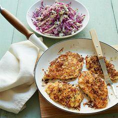 Crispy Coconut and Scallion Breaded Chicken Cutlets