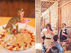 """""""We are also fairly eclectic and fun-loving people, so we wanted to have some touches at the reception that reflected our kooky personalities. Long ago we decided our spirit animals were a dinosaur and a flamingo, and so those were the toppers on our wedding pie. We also totally love animals, and the awesome staff at Schilter Farm set up a little petting zoo for us with pygmy goats, Shetland ponies and chickens and took our guests on hay rides."""""""