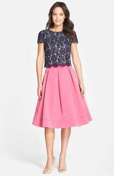 crop top, pink midi skirt