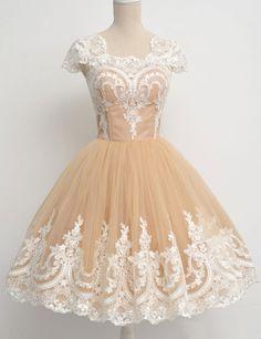 Short Homecoming Dress,Lace Homecoming Dress,Cap Sleeves Homecoming Dress,