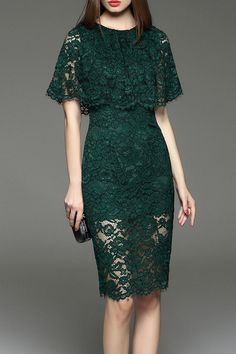 cc blackish green cut out lace capelet dress here, find your knee length dresses at dezzal, huge selection and best quality. Trendy Dresses, Simple Dresses, Beautiful Dresses, Fashion Dresses, Dresses Dresses, Pencil Dresses, Fashion Clothes, Dress Outfits, Formal Dresses