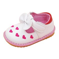Baby girl leather heart shoes with flower bow $6.98 from Aliexpress