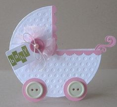 Baby Cards Adorable Baby Carriage card by Paper Girl. Baby Girl Cards, New Baby Cards, Baby Shower Invitaciones, Baby Crafts, Greeting Cards Handmade, Baby Shower Cards Handmade, Kids Cards, Creative Cards, Cute Cards