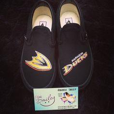 Anaheim Ducks NHL custom hockey Toms/Vans by ShoesBySmiley on Etsy, $135.00 Ducks Hockey, Nhl News, Hockey Stuff, Anaheim Ducks, Toms, Pride, Kicks, Gadgets, Cute Outfits