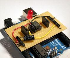 Stripboard Arduino shield for programming ATtiny45 and ATtiny85