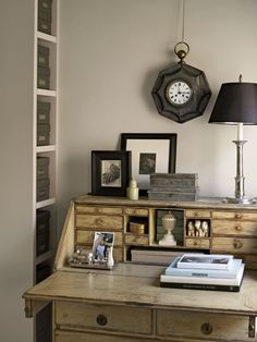 Eric Pike - Swedish desk, French tole clock, tin boxes - want it all.