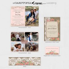 BURLAP and LACE WEDDING Invitation Suite by CardtopiaCompany