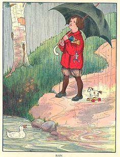 Vintage 1930 Child Under Umbrella with Toys Rain Nursery Rhyme Story…