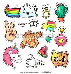 Colorful vector patch badges with animals, characters and things. Hand-drawn stickers, pins in cartoon 80s-90s comics style. Set with unicorn, cloud, cat, cactus, watermelon, etc. Peace hand.