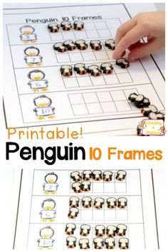 If your kids are working on 10-frames they will love this fun penguin-themed 10 frame worksheet! Printable free and ready-to-go! Just add penguins! #sciencepenguin #science #penguin #children