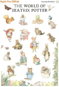 "ON SALE The world of beatrix potter - counted Cross Stitch Pattern chart pdf format - 17.71"" x 6.78""  - L1020"