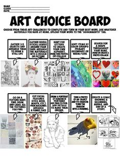 This is a simple art choice board with visuals to inspire creativity. This allows students to get creative, using what materials might be available and giving them options. Middle School Art Projects, High School Art, School Ideas, Bubble Wrap Art, Elementary Art Rooms, Choice Boards, Preschool Special Education, 5th Grade Art, Free Printable Art
