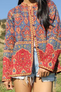 Vintage Bohemian Beauty Quilted Indian Cotton Jacket REVERSIBLE. $68.00, via Etsy.