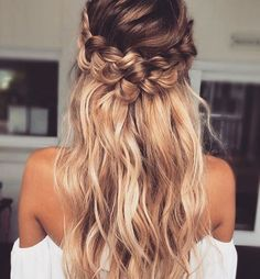 crown braid | curly long hairstyles | highlight blonde