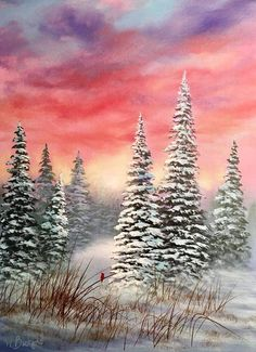 how to paint a snow covered tree in acrylics Winter Landscape, Landscape Art, Landscape Paintings, Landscapes, Painting Snow, Winter Painting, Pictures To Paint, Art Pictures, Photos