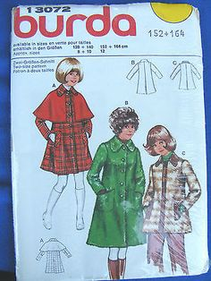 VTG-SEWING-PATTERN-BY-034-BURDA-034-13072-GIRL-sized-COAT-SEE-PICS-amp-INFORMATION