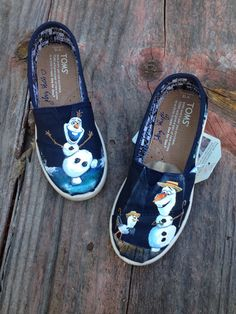 Olaf inspired From Frozen Painted Shoes by TheEnchantedBrush, $130.00