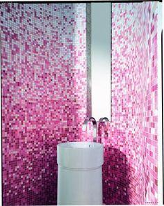 pink mosaic tile bathroom design photo by bisazzausa photobucket: ideas mosaic wall
