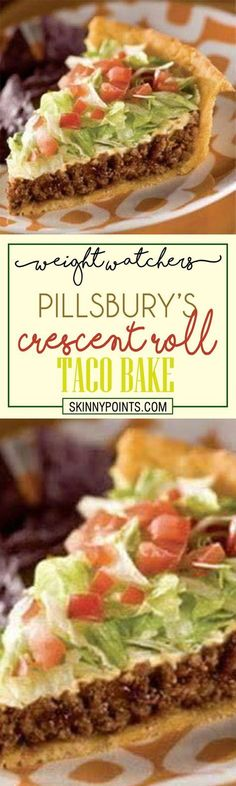 Pillsbury's Crescent Roll Taco Bake weightwatchers weight_watchers pillsburry taco Crescent Roll Taco Bake, Crescent Roll Recipes, Taco Roll, Crescent Rolls, Ww Recipes, Mexican Food Recipes, Cooking Recipes, Cake Recipes, Gastronomia