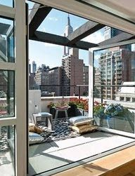 New York penthouse with panoramic skyline view New York Penthouse, Duplex New York, New York Apartments, New York Loft, New York Apartment Luxury, Ny Loft, Penthouse Suite, Luxury Penthouse, New York Homes