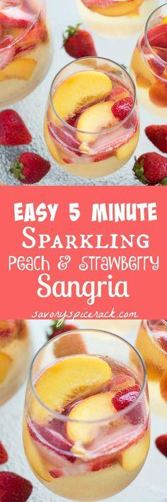 Strawberry Sangria - This easy Sparkling Peach and Strawberry Sangria ...